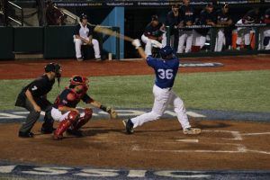 Ryan Larvanway connects for a homer against Great Britain.
